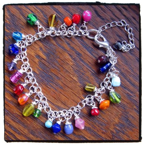 Pretty Hippie Boho Rainbow Festival Beaded Glass & Silver Bracelet