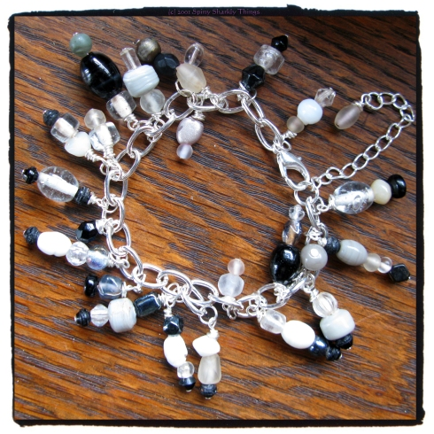 Grungy Monochrome Black White Grey & Silver Beaded Bracelet
