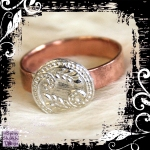 Ring Copper Silver Vintage Button A 02