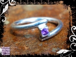 Ring Silver Amethyst Square in Spiral 05
