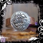 Ring Silver Button Paisley Copper Shank 02