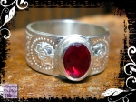Ring Silver Celtic Heavy Red Spinel 08