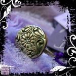 Ring Silver Copper  Vintage Button Swirly 01