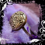 Ring Silver Copper  Vintage Button Swirly 02