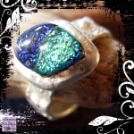 Ring Silver Dichroic Glass Barnacle Texture 01