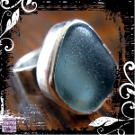 Ring Silver Pale Blue Seaglass 03