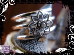 Ring Silver Spiral Flower with White CZ 05
